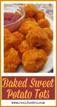 Baked Sweet Potato Tots (gluten-free). Easy to make, and a kid favorite! Double the batch and freeze half so you always have a quick snack or dinner on hand right from the freezer. realfoodrn.com #tatertots #sweetpotato