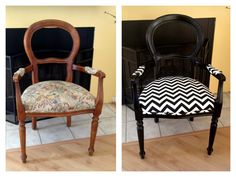 My new desk chair. Mom's old chair + left over paint and chevron fabric = a total cost of $0 #diy