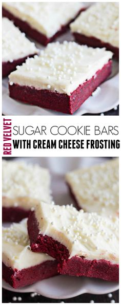 These Red Velvet Sugar Cookie Bars are delicious sugar cookie bars without all of the hard work! And the cream cheese frosting is INSANE!!
