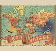 Bon Voyage vintage wall map