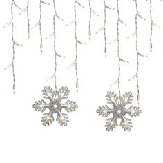GE�150-Count Incandescent Mini Clear Snowflakes Icicle White-Corded Christmas String Lights