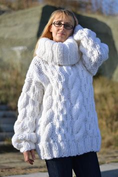 READY to SEND wool sweater handmade tneck jumper hand knitted wool pullover handknit jumper chunky sweater bulky wool sweater cable WHITE by Dukyana on Etsy Thick Sweaters, Wool Sweaters, Sweaters For Women, Big Knits, Chunky Knits, Handgestrickte Pullover, Mohair Sweater, Unisex, Jumper