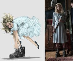 """Boceto para el personaje de Emma realizado por Colleen Atwood para """"El hogar de Miss Peregrine para niños peculiares"""" (2016).  El delicado azul celeste es contrarestado por las botas que el personaje calza para evitar flotar."""