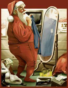 Even Santa likes shopping. teehee    santa by ~chngch on deviantART