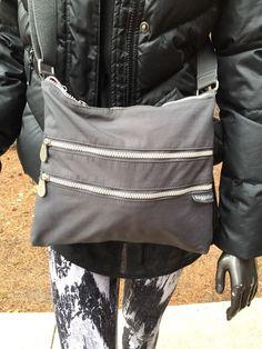 Baggallini Limited Edition Big Zipper Bagg Charcoal Grey Fuchsia Crossbody    | eBay