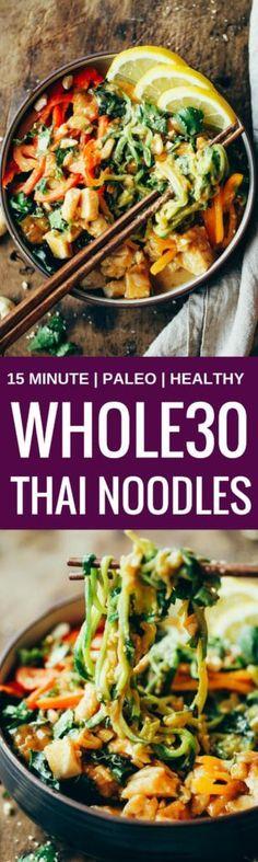 Whole30 Thai Chicken Noodles - Paleo Gluten Free Eats