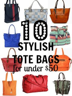 10 Stylish Tote Bags for Under $50, via Tipsaholic.com