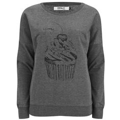 ONLY Women's Cupcake Sweatshirt featuring polyvore, fashion, clothing, tops, hoodies, sweatshirts, sweaters, shirts, grey, sweatshirt, sweat shirts, gray sweatshirt, sweat tops, crew neck shirts and grey shirt