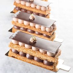 By Beautiful Chocolate Millefeuille. Small Desserts, French Desserts, Gourmet Desserts, Plated Desserts, Smores Dessert, Millefeuille Rezept, Cake Recipes, Dessert Recipes, British Baking