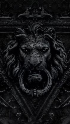 black lion door knocker / color inspiration / black and white / monochromatic / texture / pattern / nature / art / Lion Door Knocker, Door Knockers, Door Knobs, Door Handles, Lion Noir, Sculptures, Lion Sculpture, Black Lion, Shades Of Black