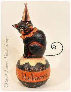 Johanna Parker, Contemporary Folk Artist -- Halloween Folk Art--- Want to make! Retro Halloween, Vintage Halloween Decorations, Halloween Doll, Halloween Items, Halloween Signs, Spooky Halloween, Holidays Halloween, Halloween Pumpkins, Happy Halloween