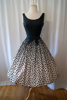 1950's Silk Abstract Polka Dot Dress Perfect combination of housewife and adorable party entertainer.