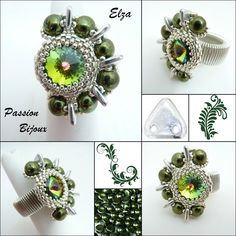 02 - ELZA Bague vert  https://www.etsy.com/fr/shop/PASSIONPERLINE?ref=hdr_shop_menu