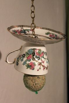 Teacup bird feeder, up-cycled and useful, vintage fine china. Cottage chic garden ornament, decoration, bird lovers gift. - pinned by pin4etsy.com