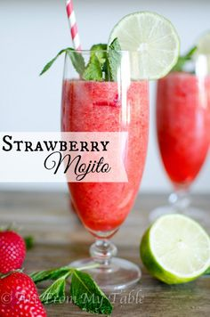 This Strawberry Mojito Mocktail is made with fresh strawberries, fresh squeezed lime, and fresh mint! A perfectly refreshing summer mocktail all will enjoy!