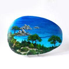 peinture sur galet une plage des seychelles galets peints sabistar cr ations pinterest. Black Bedroom Furniture Sets. Home Design Ideas