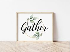 Gather Wall Art Printable Farmhouse Decor Home Decor Home | Etsy Wedding Gifts For Groomsmen, Groomsman Gifts, Printing Services, Online Printing, Create Collage, Wedding Shower Gifts, Photo Center, International Paper Sizes, Green Print