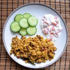 Quick Mushroom Biryani & Strawberry Raita that can be made in less than 30 minutes #biryani #briyani #mushrooms #raita #strawberry #indianfood #vegetarian