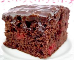 Cherry Chocolate Cake...This cake is basically a cherry Texas sheet cake, but much easier because it uses a cake mix.  The glaze is perfect and I promise you will love it.