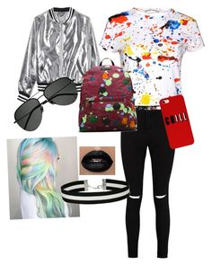 """Color wave"" by mp89 on Polyvore featuring Boohoo, Sans Souci, Alice + Olivia, Dr. Martens, Yves Saint Laurent and Miss Selfridge"
