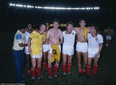 These England players had every right to be delighted in Rio in 1984 - they were the first (and still the only) England team to win in Brazil. Seen here from left to right are Mark Chamberlain, Mike Duxbury, John Barnes, Dave Watson, Clive Allen, Mark Hateley and Kenny Sansom. Such was the brilliance of the Barnes goal that the scorer of England's second that day is often forgotten. It was actually Hateley with a fine header