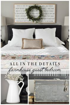 Guest Bedroom All the details on our cute farmhouse styled guest bedroom! via All the details on our cute farmhouse styled guest bedroom! Guest Bedroom Decor, Farmhouse Bedroom Decor, Guest Bedrooms, Home Bedroom, Decor Room, Farmhouse Artwork, Cottage Bedrooms, Bedroom Rustic, Master Bedrooms