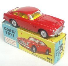 Corgi Toys Aston Martin DB 4 scarce red version with saffron yellow interior, spoked wheel detail and open bonnet vent