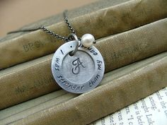 www.MyBellaMarketplace.com  #MyBellaMarketplace  I Was Stronger Than My Cancer Custom Hand Stamped Celebration Necklace with Freshwater Pearl and Washer by MyBella