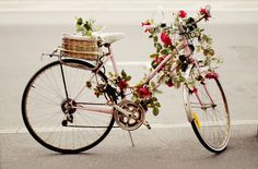 rose covered bycicle