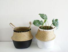 Seagrass Belly Basket // Pom Pom Basket // Paint Dipped // Storage Basket by PROJECTJDESIGNCO on Etsy