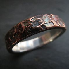 Mens Wedding Ring Unusual Rustic Steampunk Hammered Copper and Fine Silver Band 6mm Design 062