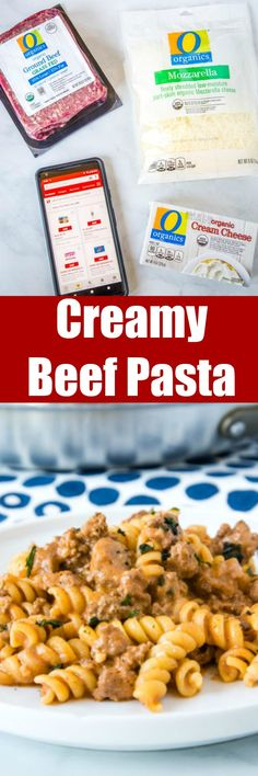 #ad Creamy Beef Pasta – an easy recipe that gets dinner on the table the whole family will love any night of the week! Creamy, hearty, and perfect for those picky eaters. #Safeway #OOrganics