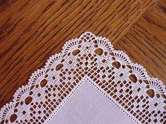 Crochet Edging Ravelry: Filetstueck's Handkerchief / hanky in filet-crochet with scalloped edge - Crochet Boarders, Crochet Edging Patterns, Crochet Lace Edging, Crochet Motifs, Crochet Diagram, Crochet Squares, Thread Crochet, Crochet Crafts, Crochet Doilies