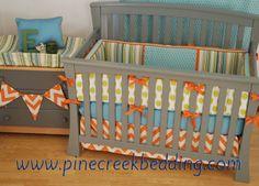 Orange Chevron crib bedding with aqua and lime fabrics
