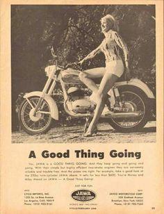 1965 Print Advertisement Ad Jawa Motorcycle Just for fun Sexy Blonde Hot Pants - Advintage Plus Vintage Advertisements, Vintage Ads, Vintage Posters, Vintage Photos, Bike Poster, Motorcycle Posters, Jawa 350, White Motorcycle, Damier