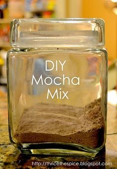 Iced Mocha Mix1/2 cup instant coffee granules1 cup sugar1 cup dry milk powder1 cup powdered creamer1/2 cup baking cocoa1/4 teaspoon saltCombine all ingredients in an airtight container.  May be stored for up to a year.For an iced drink  In a blender combine 1 1/2 cups ice, 1/2 cup milk, and 1/2 cup of dry mocha mix.  For a warm drink, stir 3-5 Tablespoons into a cup of warm water, to taste