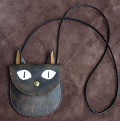 Cat small leather purse - girl children shoulder bag - gift idea - hand stitched. $59.00, via Etsy.