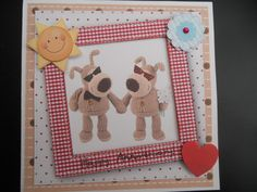 Wedding Anniversary card using Boofle and Mrs Boofle!!!  Used Docrafts Digital Designer software.  Hybrid card.