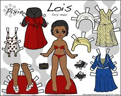 Lois is a printable historical paper doll with two dresses, underwear, shoes and hats from the early 1930s in color