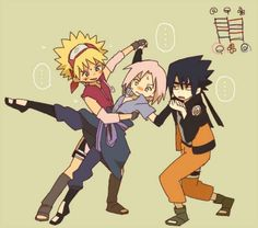 Team Seven costume Exchange - Naruto looks cute in Sakura's clothes :3 and Sasuke looks weird O.o