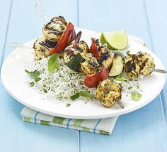 Healthy Red curry chicken kebabs
