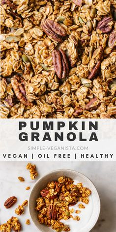 Full of flavor and perfect for snacking, this crunchy pumpkin granola recipe is naturally sweetened and made with real pumpkin! Requires only a handful of ingredients and is oil-free, refined sugar-free and super easy to make. Vegan Appetizers, Vegan Snacks, Healthy Snacks, Vegan Meals, Vegan Desserts, Pumpkin Granola, Vegan Pumpkin, Vegan Breakfast Recipes, Vegetarian Recipes