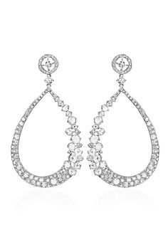 "Haute Vault earrings feature round, pear and rose cut diamonds in various sizes. Measures 2 3/4"" long and 1 3/8"" wide"