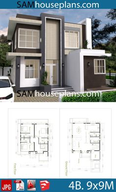 House Plans with 4 Bedrooms - Sam House Plans - House Plans with 4 Bedrooms – Sam House Plans - House Outer Design, Simple House Design, Minimalist House Design, 4 Bedroom House Plans, Basement House Plans, Craftsman House Plans, 30x40 House Plans, 4 Bedroom House Designs, Modern Courtyard