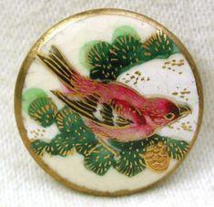 Antique Satsuma Button Detailed Sparrow Bird On Pine Branch W Pine Cone 15/16