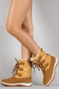 Faux Shearling Round Toe Lace Up Duck Boots | UrbanOG