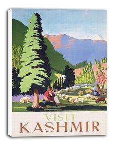 Kashmir India Travel Poster Vintage Art by CanvasTravelPrints