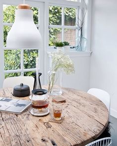 rustic dining tabletop sets off the modern chairs and light pendant at home with interior stylist fleur holl / sfgirlbybay Room Inspiration, Interior Inspiration, Interior And Exterior, Interior Design, Interior Stylist, Wooden Tables, Rustic Table, Rustic Wood, Round Wooden Dining Table