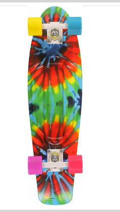 A larger upgrade Nickel size in a tie dye deck with multicolor hardware on  softie cruiser wheels ... 6cfbfa42d3d