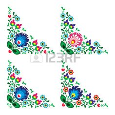 Corner border Polish floral folk embroidery pattern - wzory lowickie                                                                                                                                                                                 Más